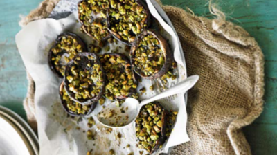 Pistachio stuffed mushrooms