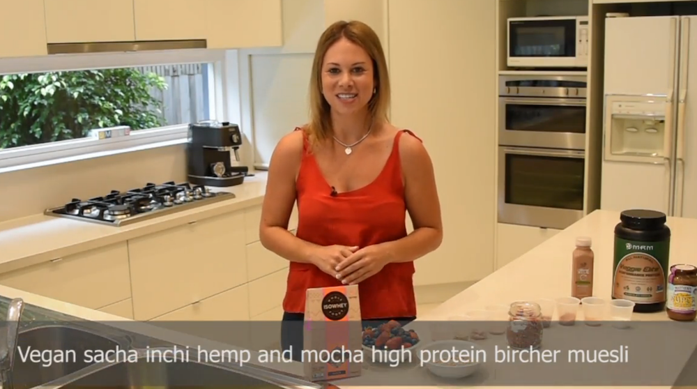 Vegan sacha inchi hemp and mocha protein bircher muesli recipe - Kara Landau Travelling Dietitan